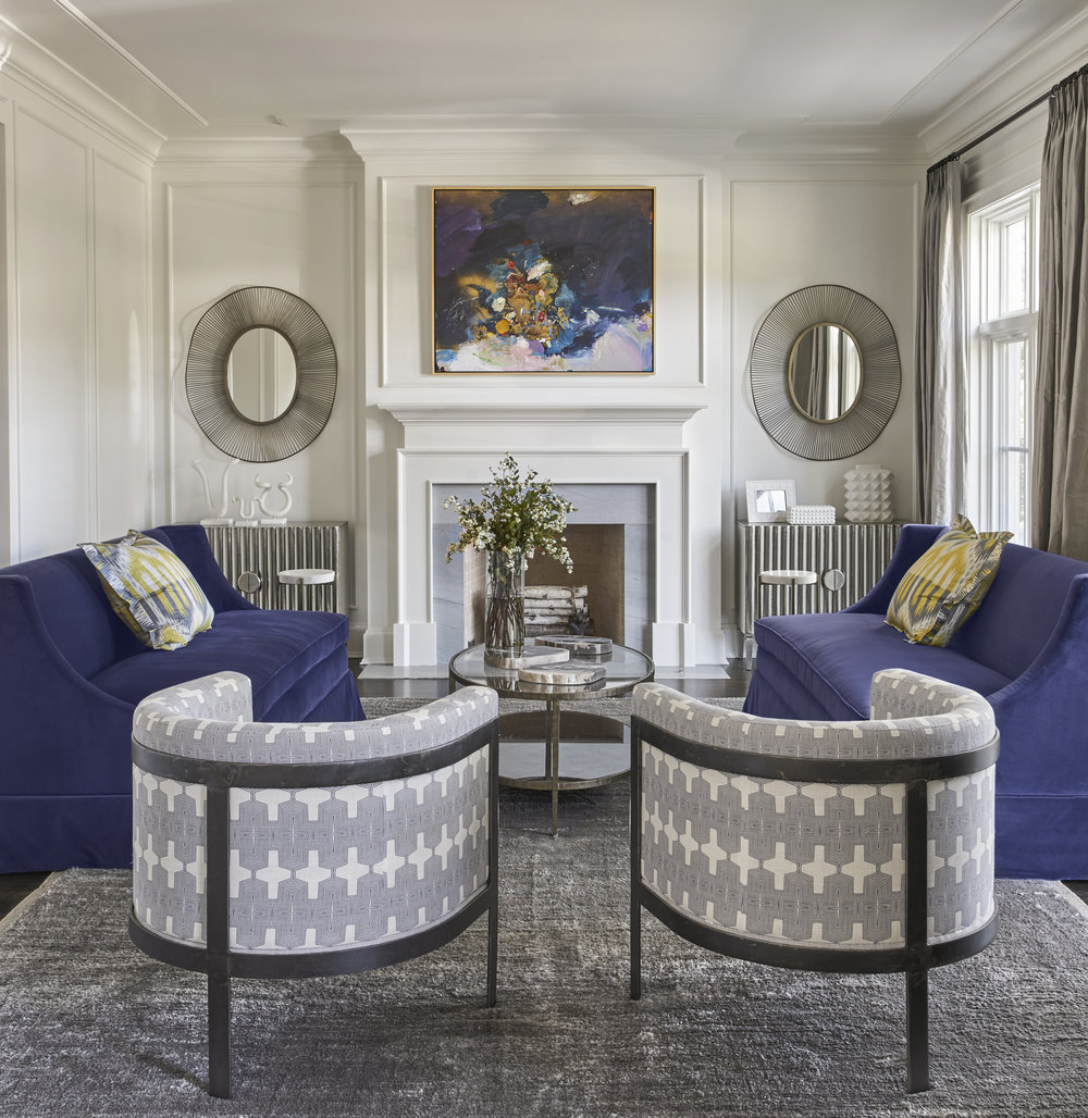Elegant and Colorful Living Room, EKD Chicago