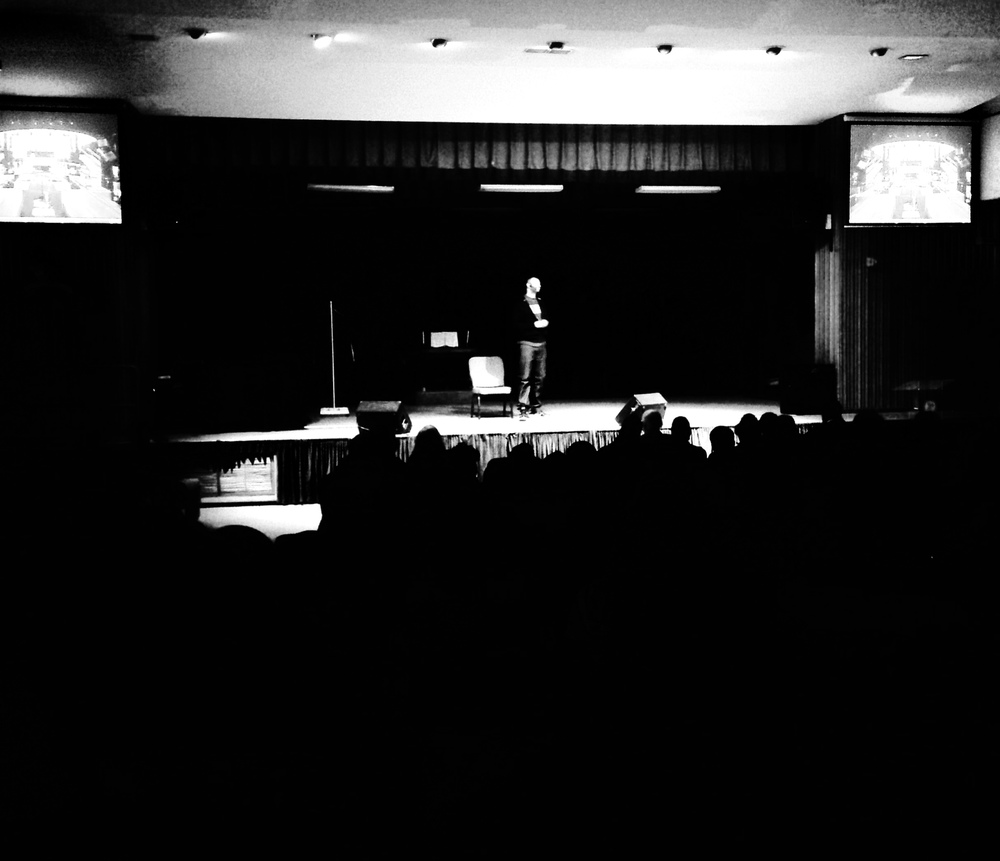 "Photo: Author Kellen Brandon performing ""One Life Monologues"" in Flint, MI"