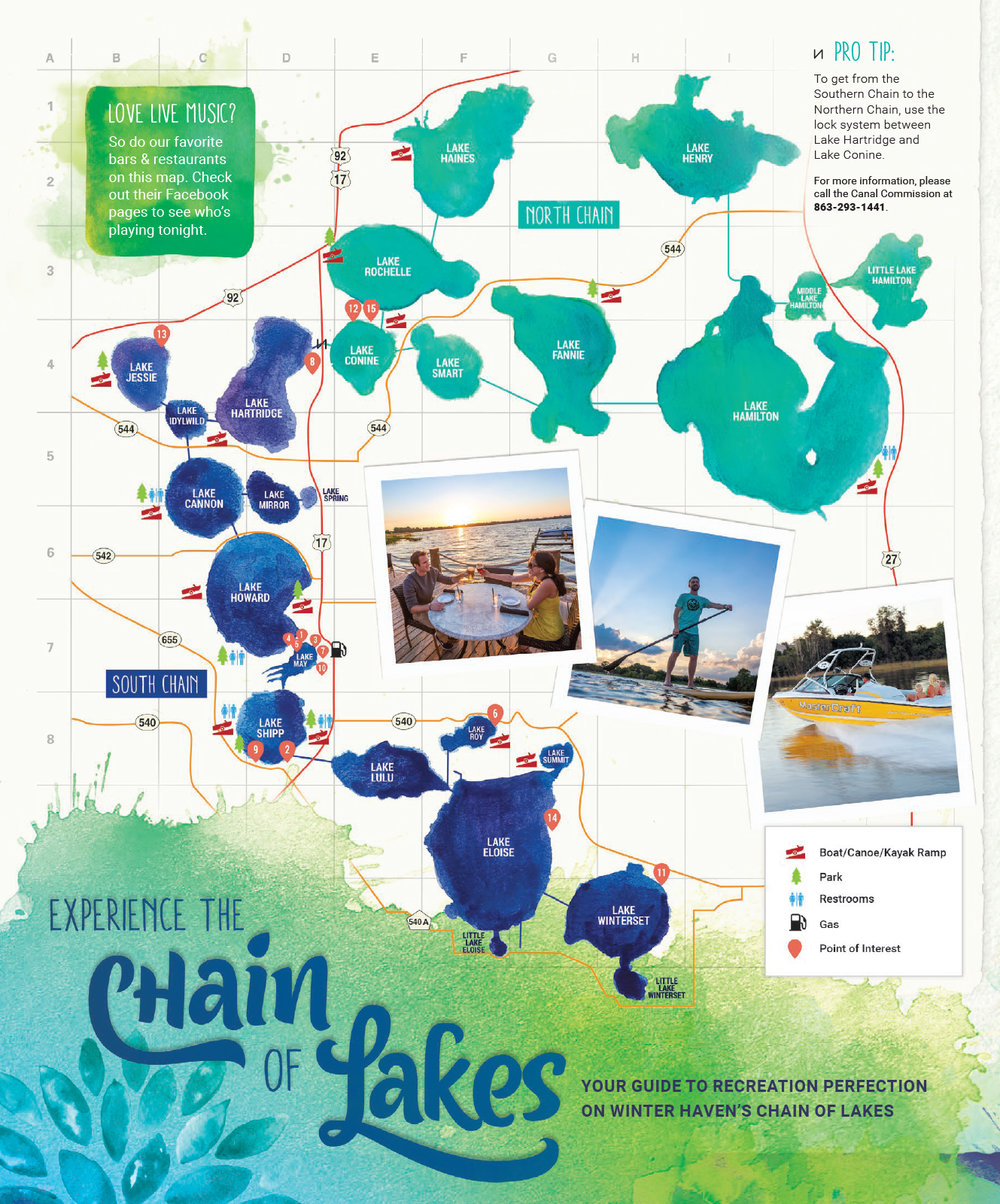 MAP Of The Chain Chain Life Winter Haven - Florida lakes map
