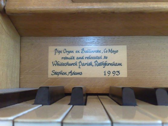 The music desk had a new slip of oak applied at the time........the area was previously riddled with drawing pin holes........quite how they forced drawing pins into oak I don't quite know.......the organist must have had terribly strong thumbs! The new oak is darkening and will eventually blem in perfectly.