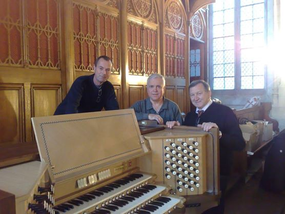Pictured with Mr. Francesco Ruffatti (Fratelli Ruffatti Organbuilders) and Mr. Dwight Jones (Integrated Organ Technologies Inc., Atlanta, Georgia) in Maynooth College, Co. Kildare .