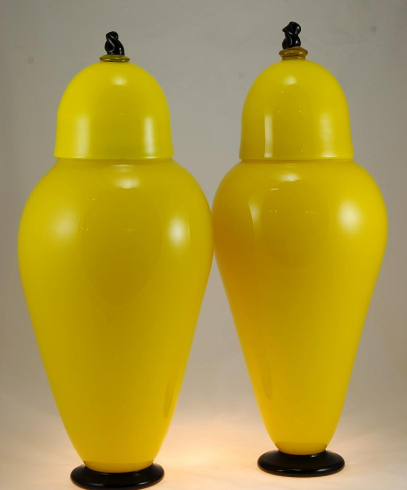 lemon black lidded Urns