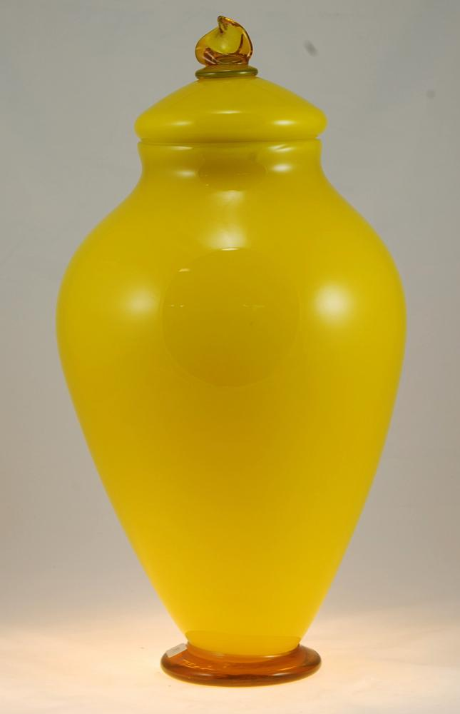 Cremation and Ceremonial Urn Hand Blown Glass Lemon by Artist Rick Strini 7thumb.jpg