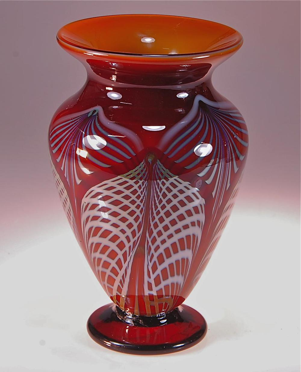 Honey Amber high shoulder vase Lace design