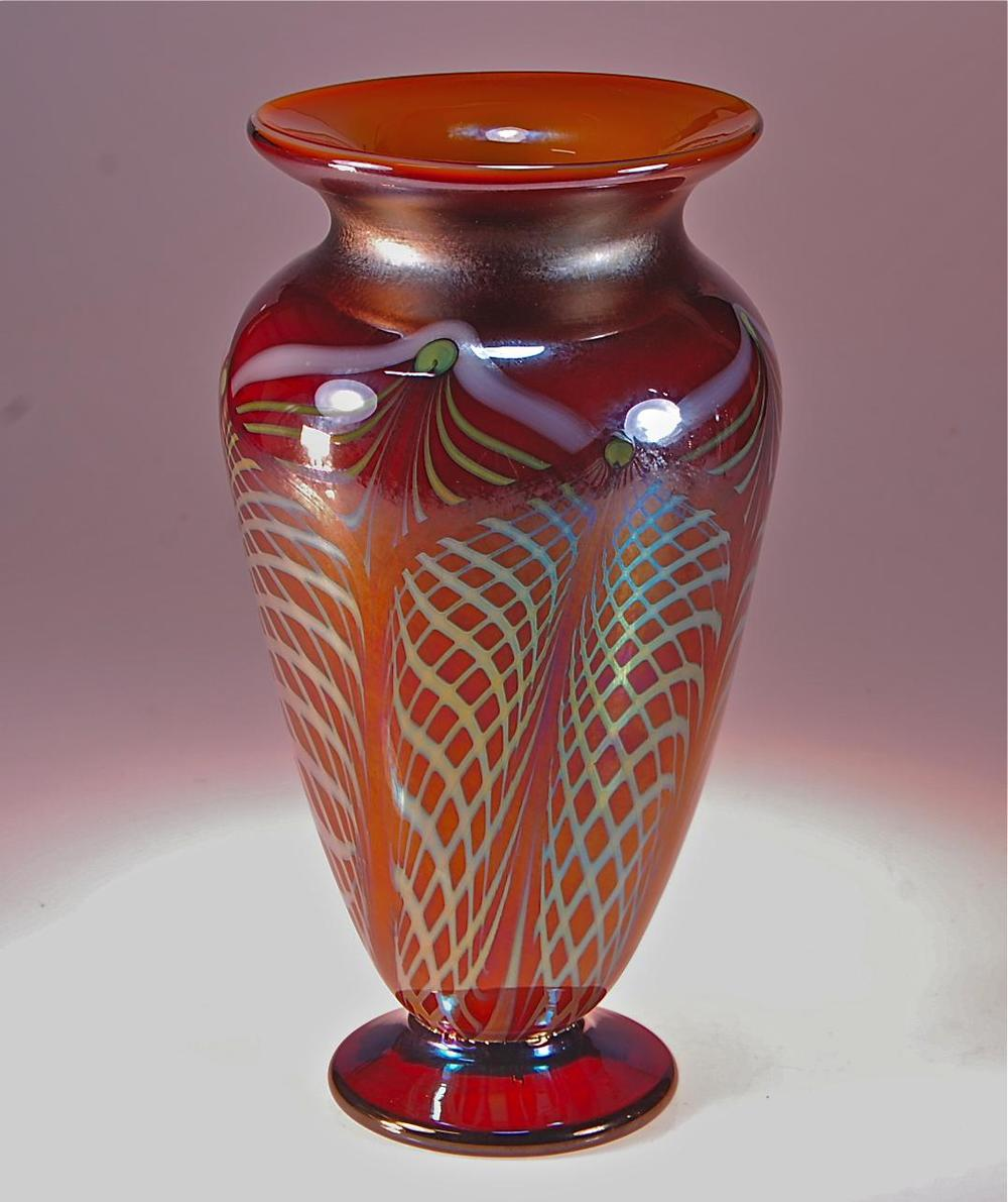 Honey Amber fumed vase Lace