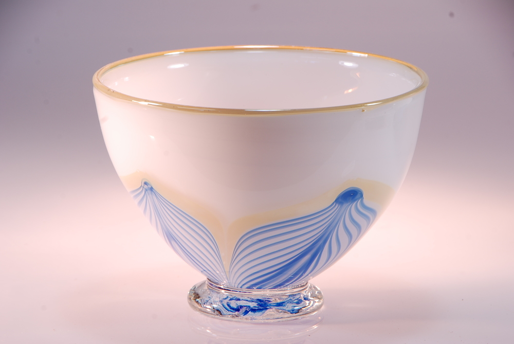 White Opal cobalt Feather design cereal bowl