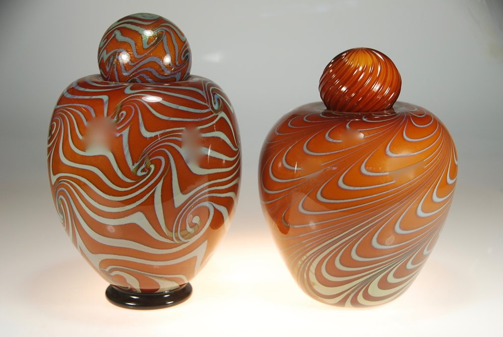 Lidded containers2017strini art glass   rick strini