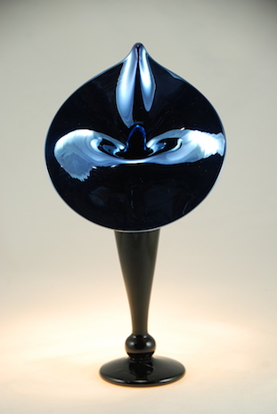 Coal Black Ebony glass Lily.  strini art glass.