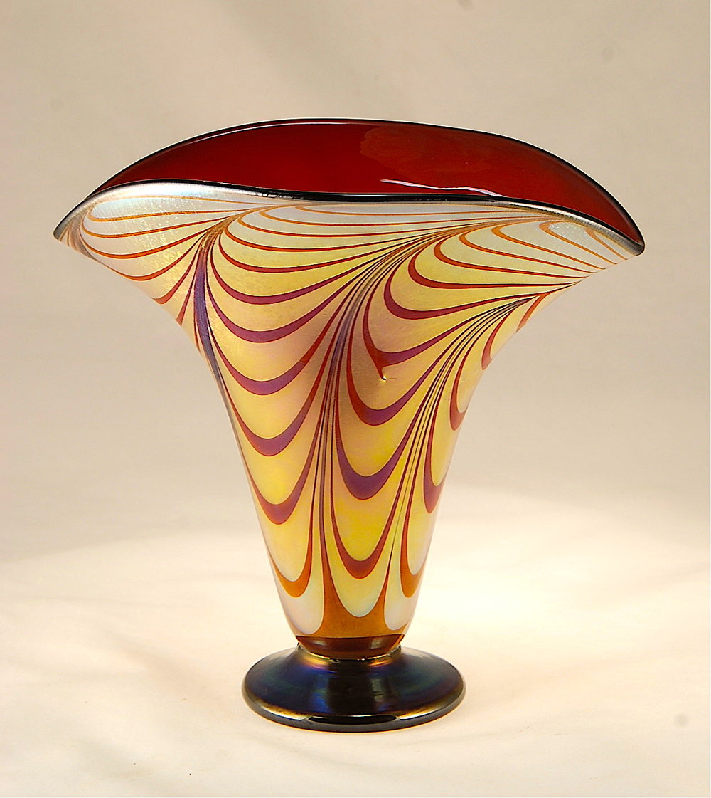 Florentine Fan,  Gold Luster decorated with ruby, ruby interior, ebony black lip and foot.