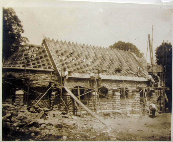 the construction of Mead Memorial Chapel, begun in 1905 and consecrated two years later. The stone was quarried at a home site just north of the Chapel and the timber for the roof came from the nearby woods..jpg