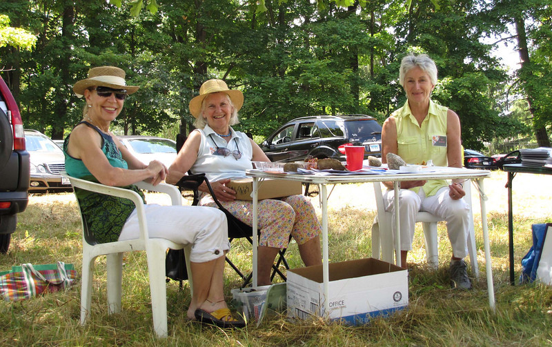 Lewisboro Land Trust 2010 garden tour - registration table in Pinecroft Preserve.jpg