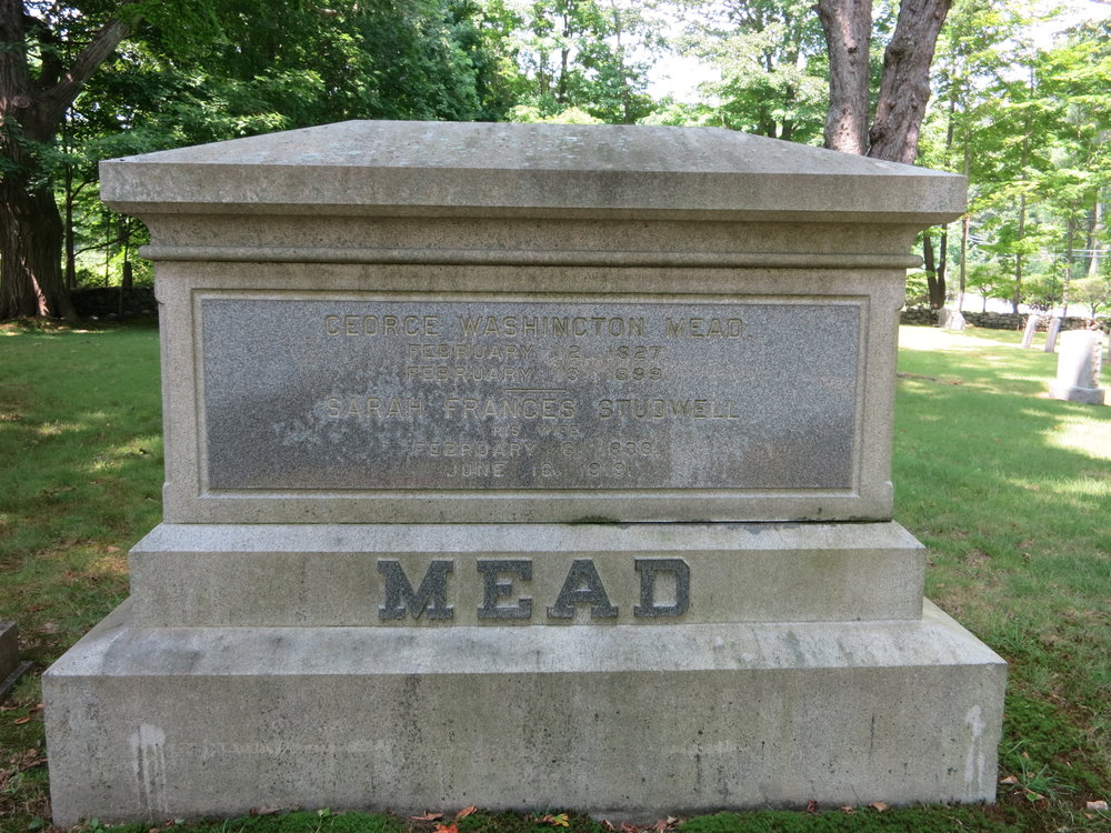 The headstone of George Washington Mead and Sarah Frances Studwell