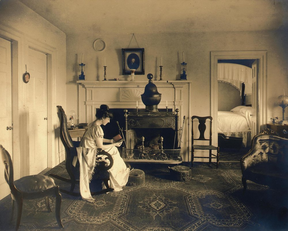 The living room with the Franklin stove