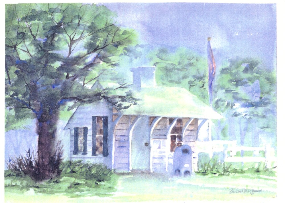 Watercolor done by former resident Barbara MacNamee in 1987 from a 1968 photo