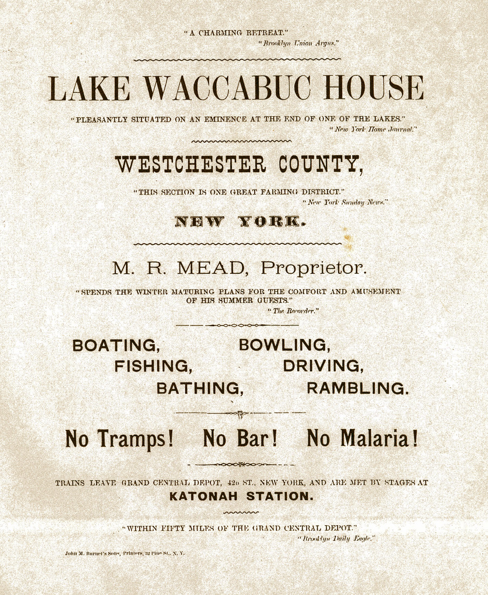 Advertising flyer for the Waccabuc Hotel