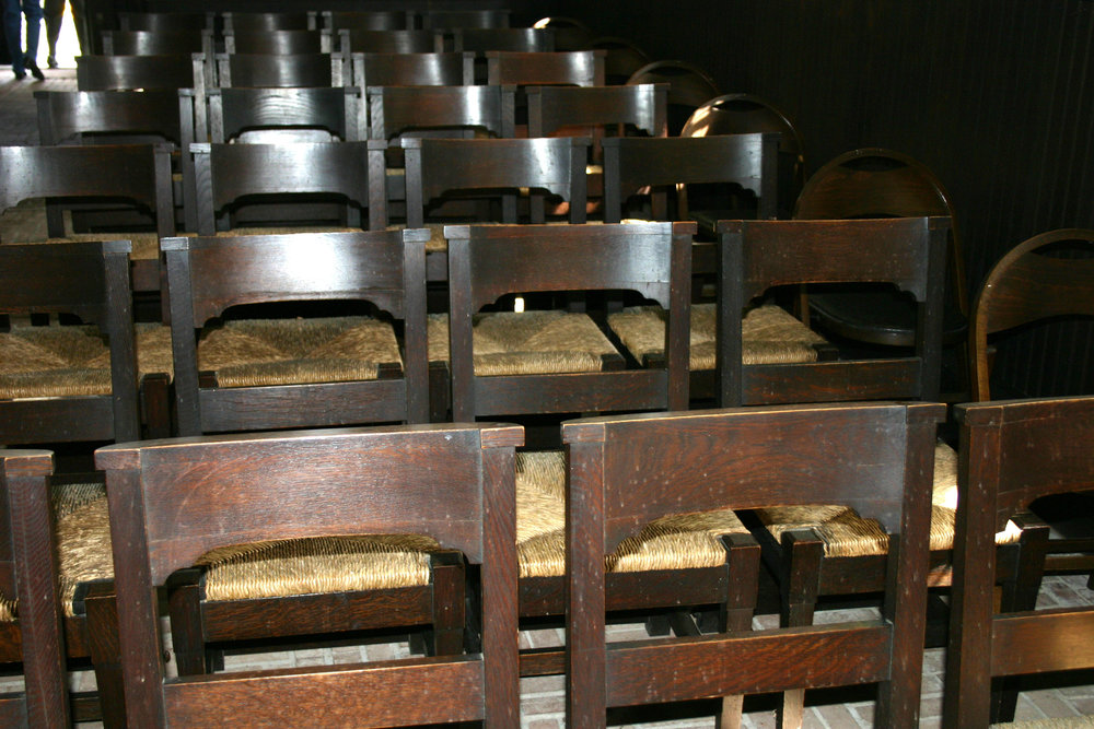 Oak cathedral chairs