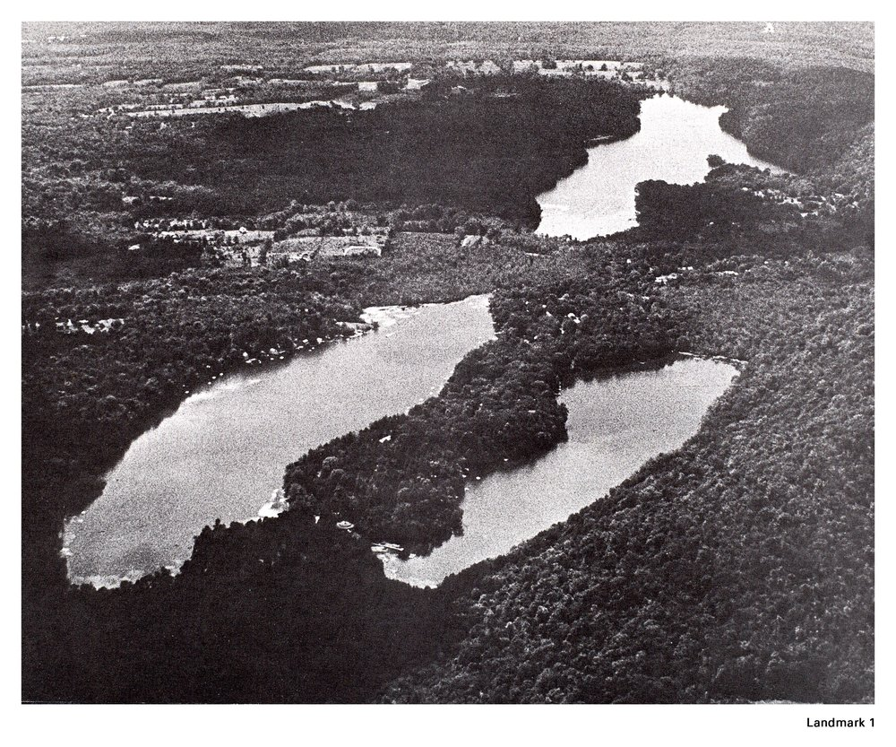 1940s aerial photo of the three lakes, looking west.  In the foreground, Lake Oscaleta is on the left and Lake Rippowam on the right.  Lake Waccabuc is at the top of the photo