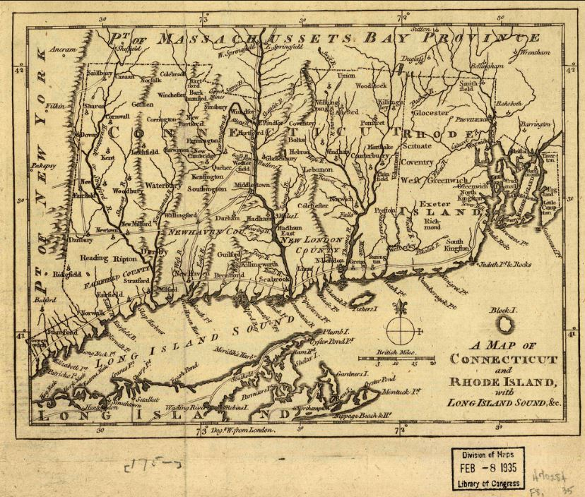 """A Map of Connecticut and Rhode Island, with Long Island Sound, &C."" London: Gentleman's Magazine, 1776. University of Connecticut Libraries, Map and Geographic Information Center - MAGIC. Click to view full size."