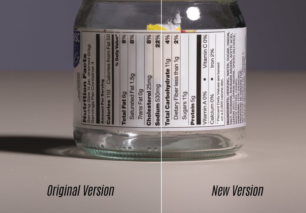 Here is the jar portion of the image. the older legacy lens on the left and the new macro on the right.
