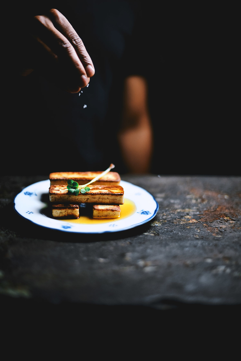 seared paneer with tea and honey vinaigrette| A Brown Table