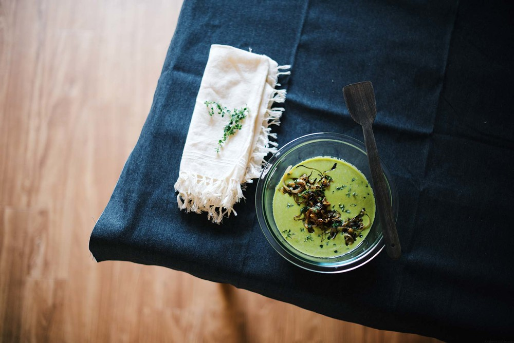 green pea socca/farinata with lemon thyme and lunu miris sambol | A Brown Table