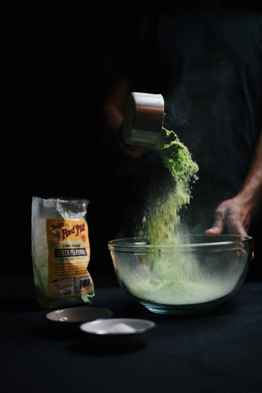 green pea socca/farinata with lemon thyme and lunu miris sambol   A Brown Table