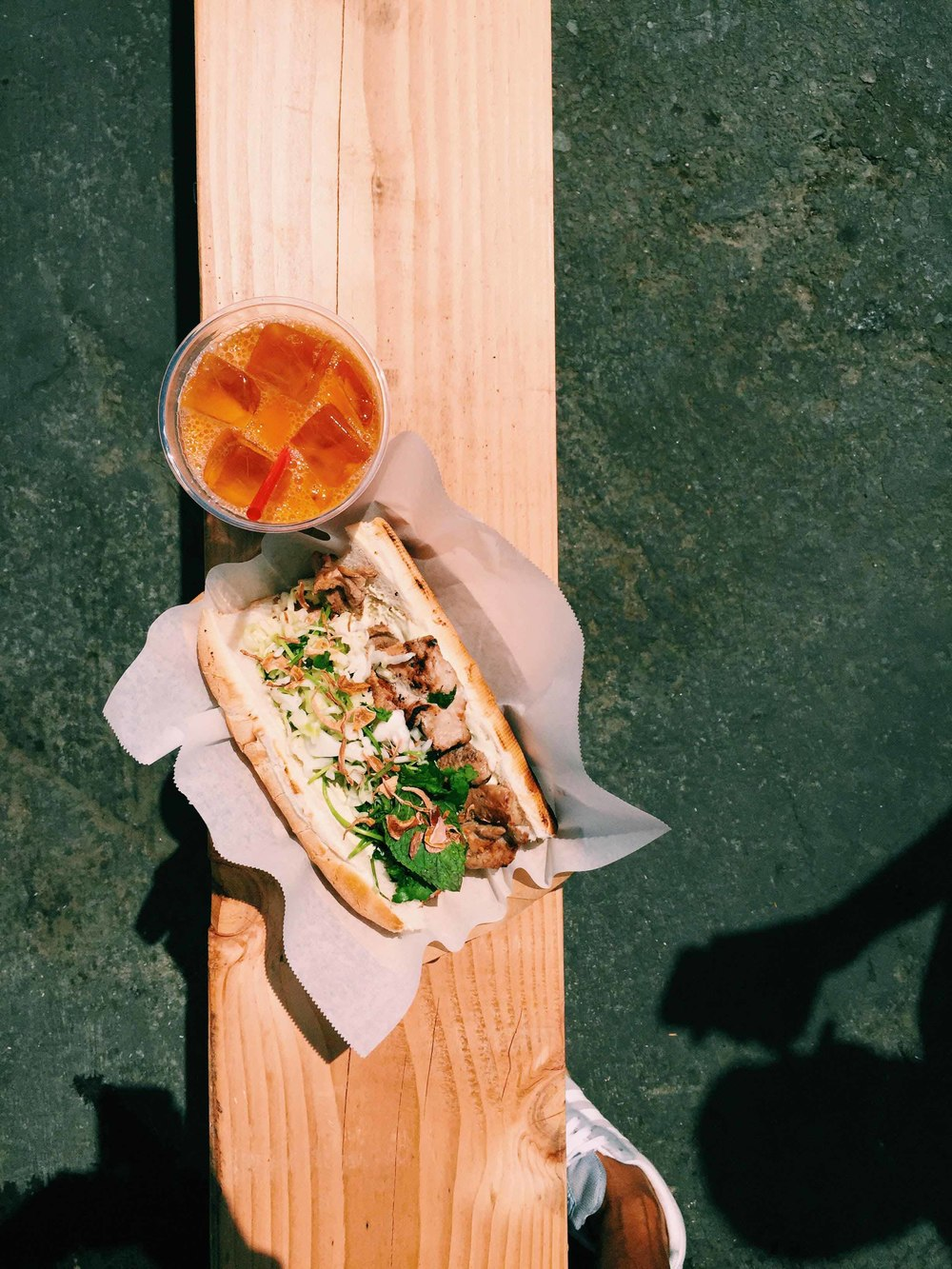 fried pork cake sandwich, thai iced tea at San Francisco Food Festival | A Brown Table