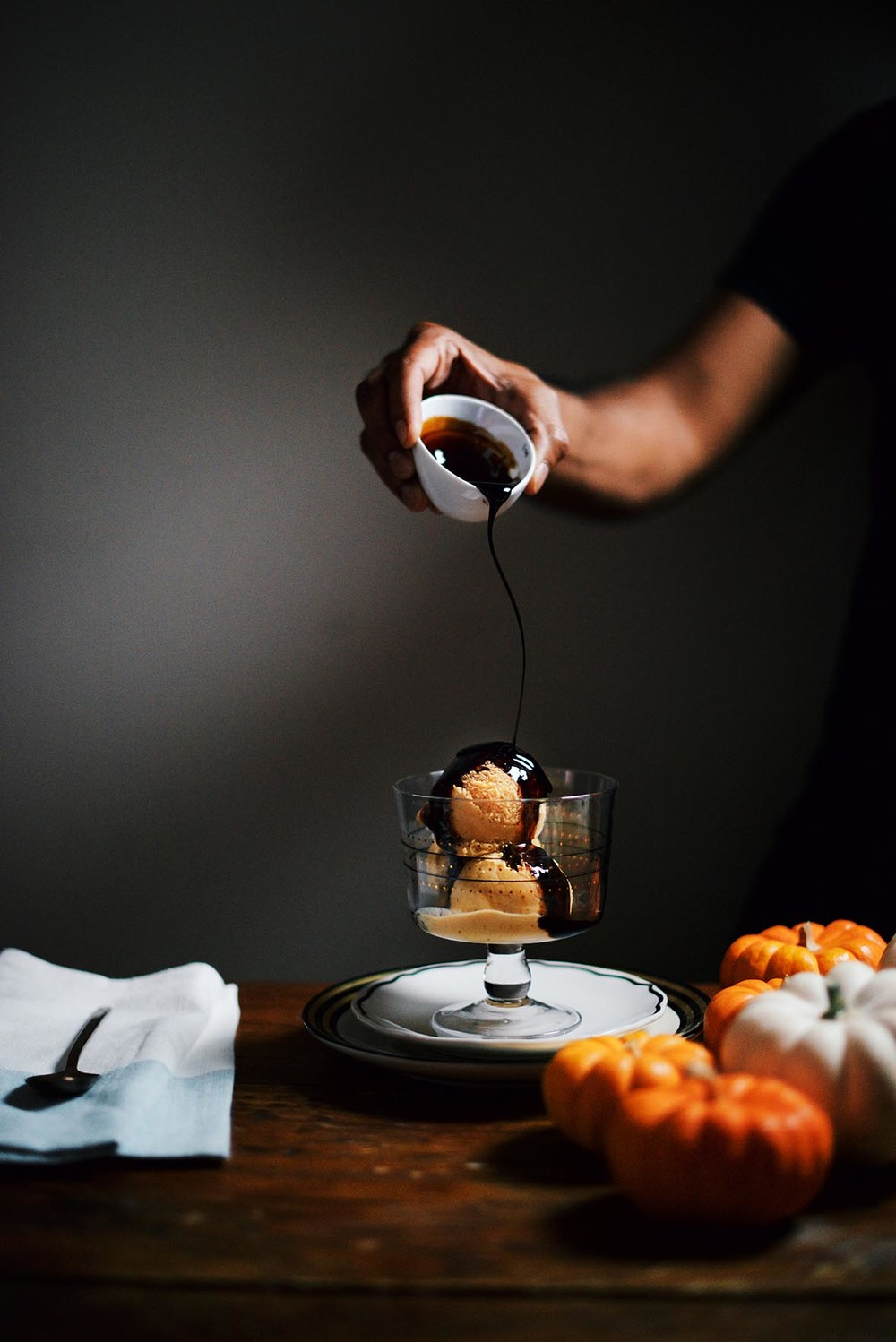 pumpkin ice cream with maple syrup and balsamic vinegar drizzle | A Brown Table