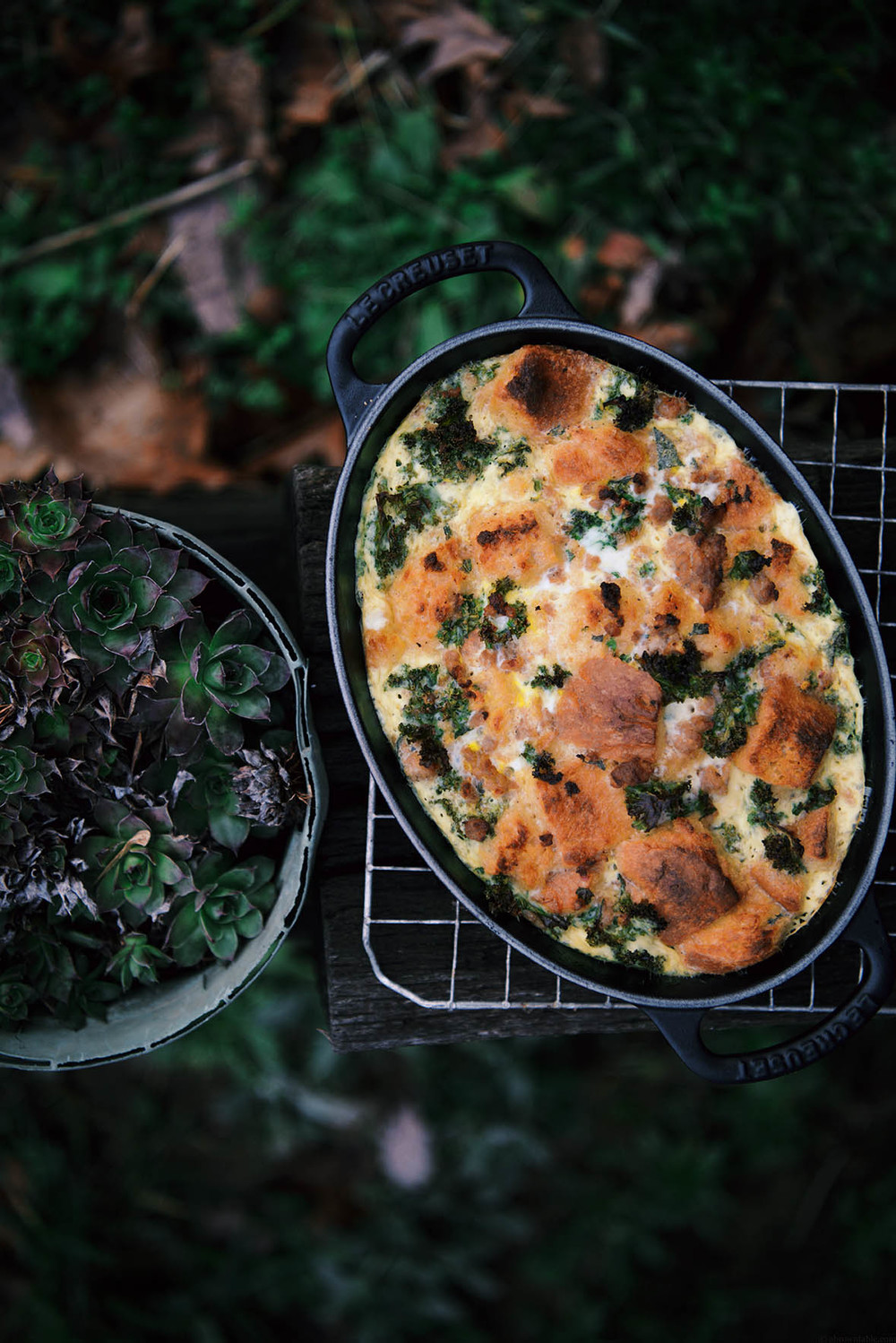 kale and sausage bread pudding | A Brown Table