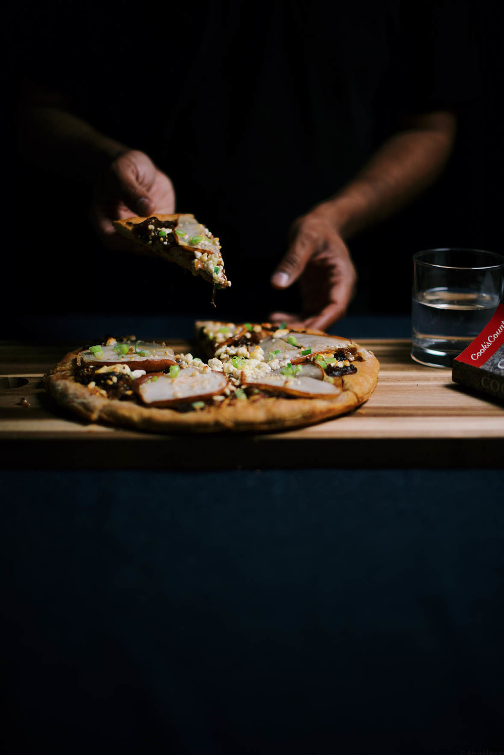 caramelized onion, nigella and pear tart  | A Brown Table