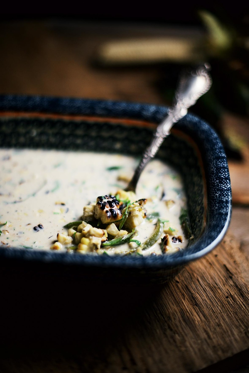fire roasted poblano peppers and corn in almond cream |  A Brown Table