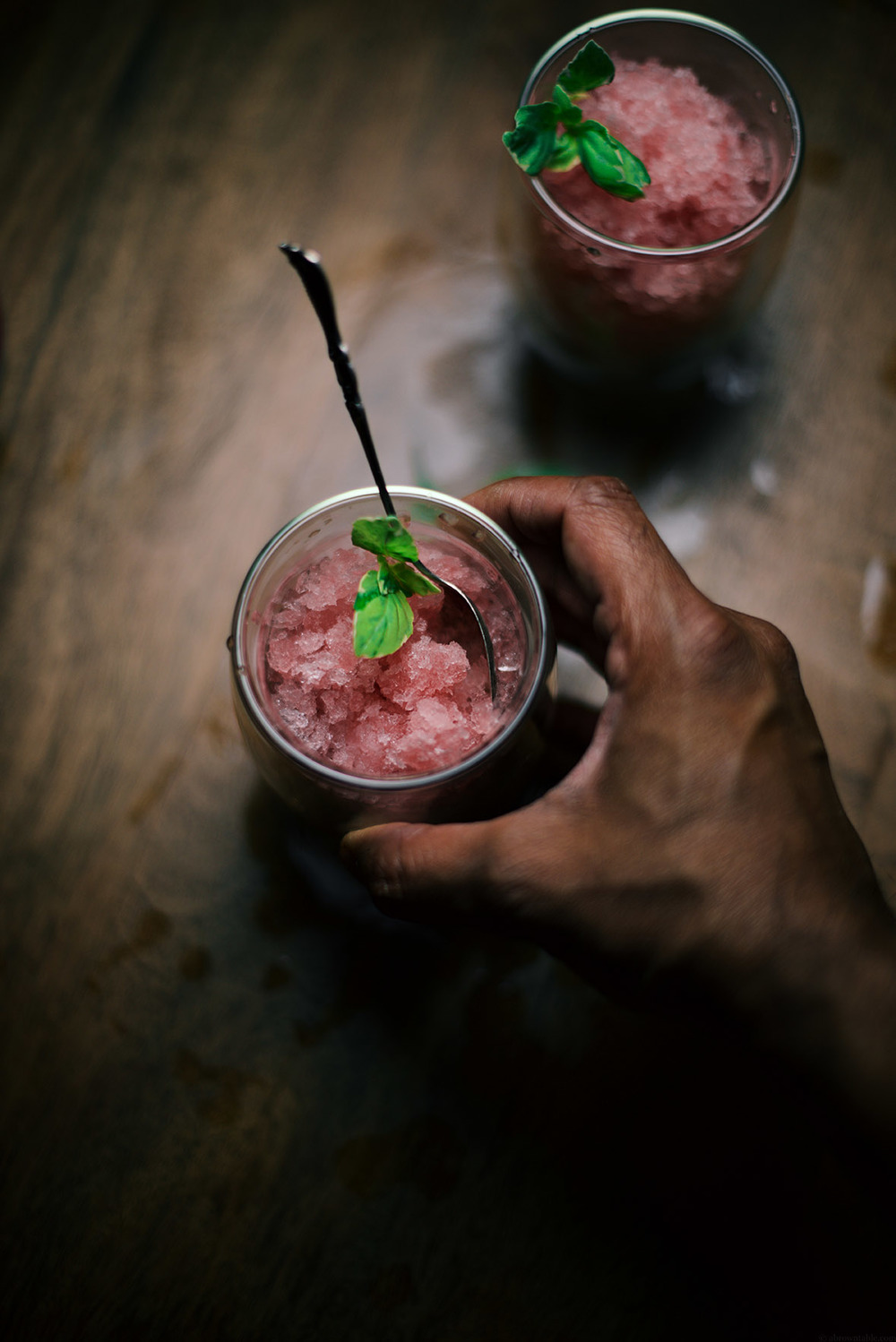 strawberry basil rosé granita | A Brown Table
