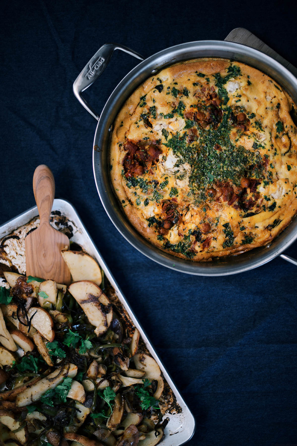 channa masala frittata with baked spiced potatoes|A Brown Table