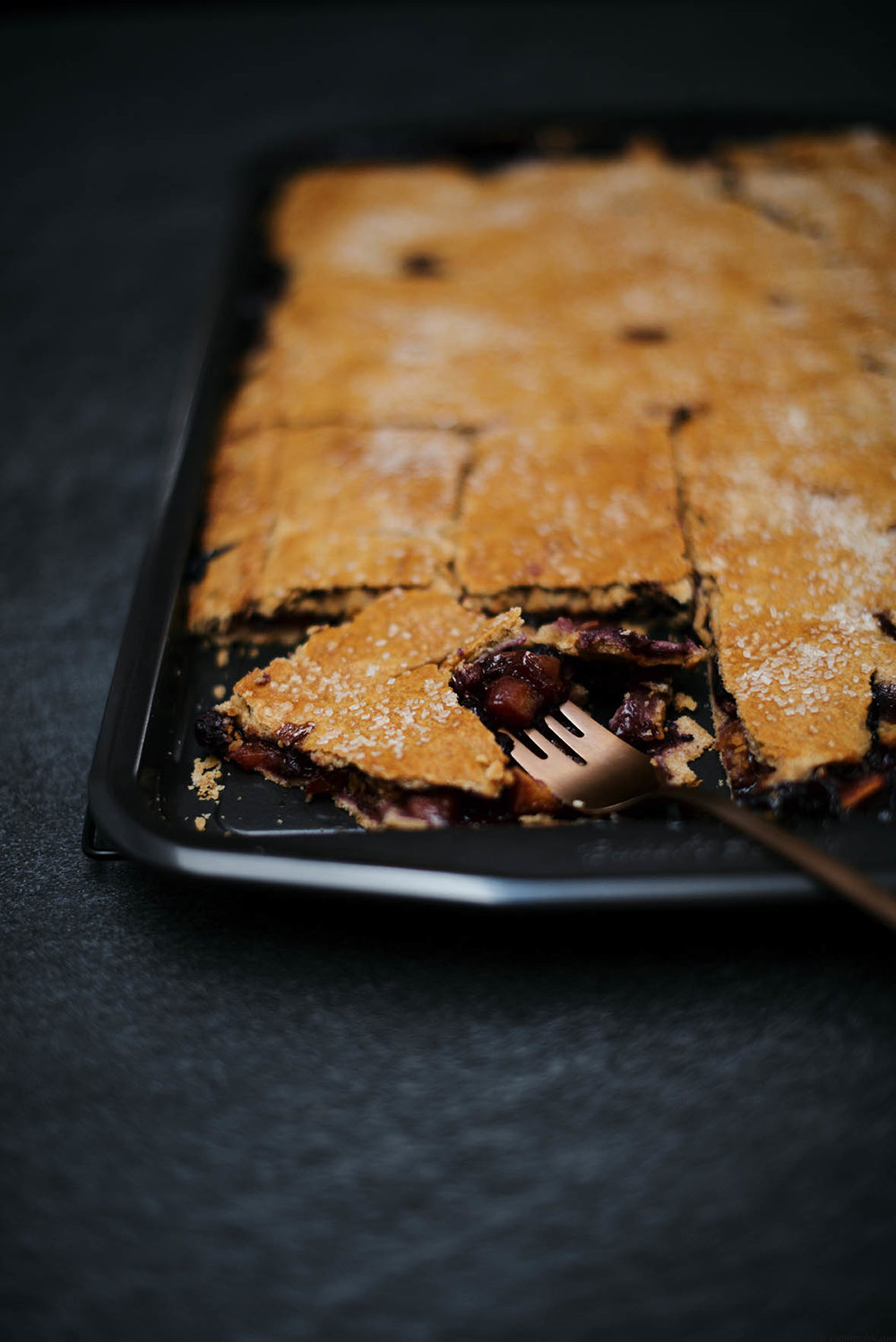 blueberry peach and rosemary slab pie | A Brown Table