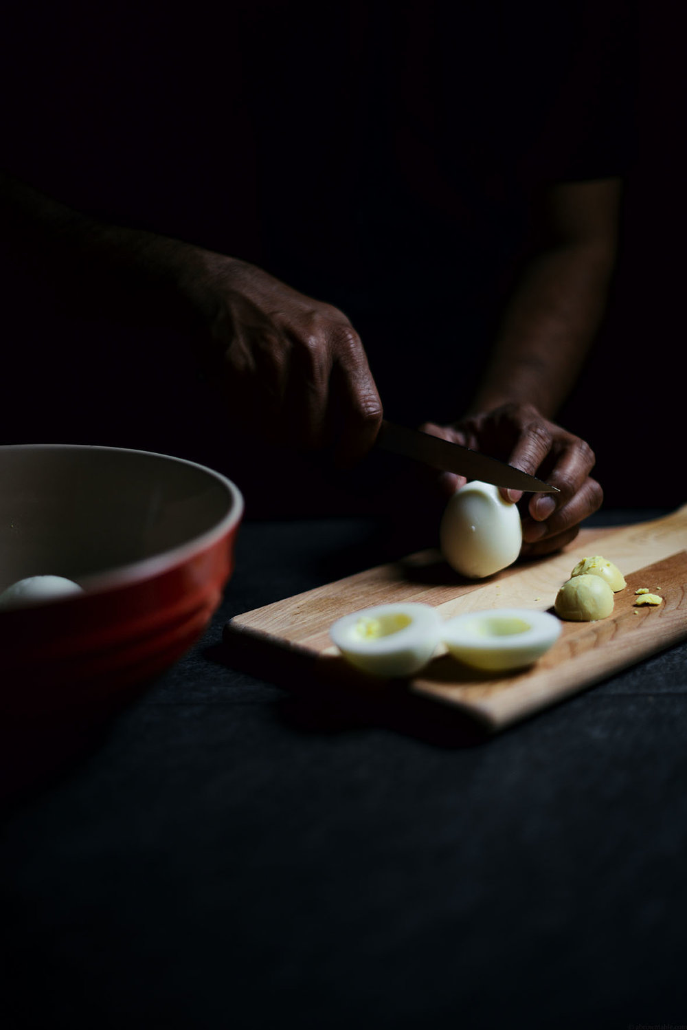 brown miso and kimchi deviled eggs with fried mushrooms | A Brown Table