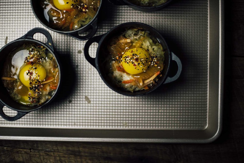 easy baked eggs with shichimi togarashi and kimchi |A Brown Table