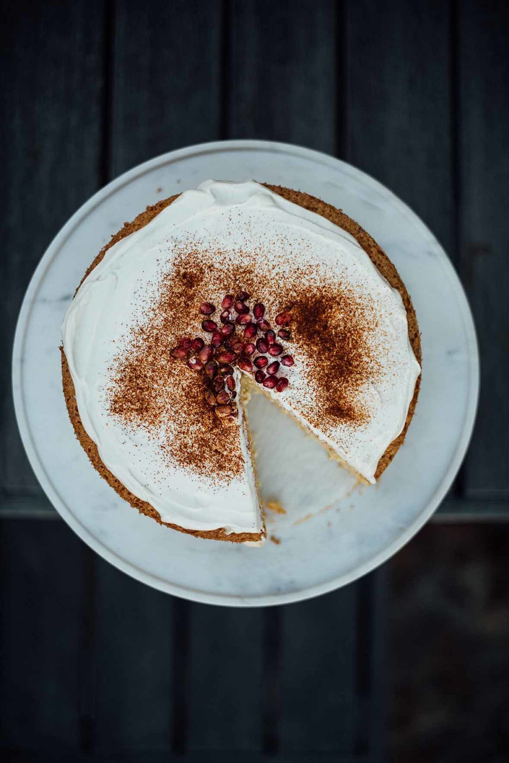 cinnamon bourbon pomegranate creme fraiche cake |A Brown Table