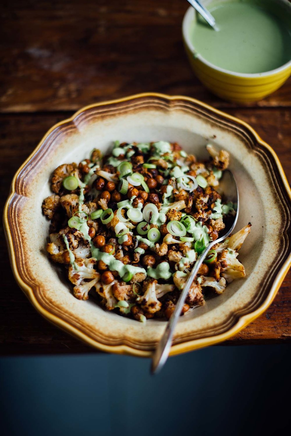 roasted cauliflower with green tahini | A Brown Table