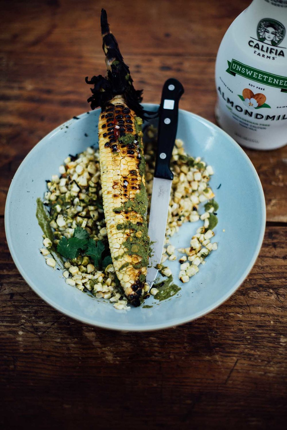 roasted corn cobs with serrano mint sauce | A Brown Table