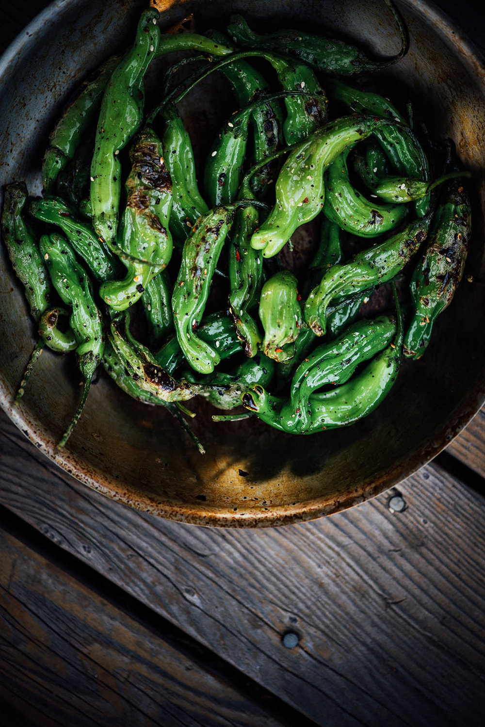 blistered shishito peppers with shichimi togarashi | A Brown Table
