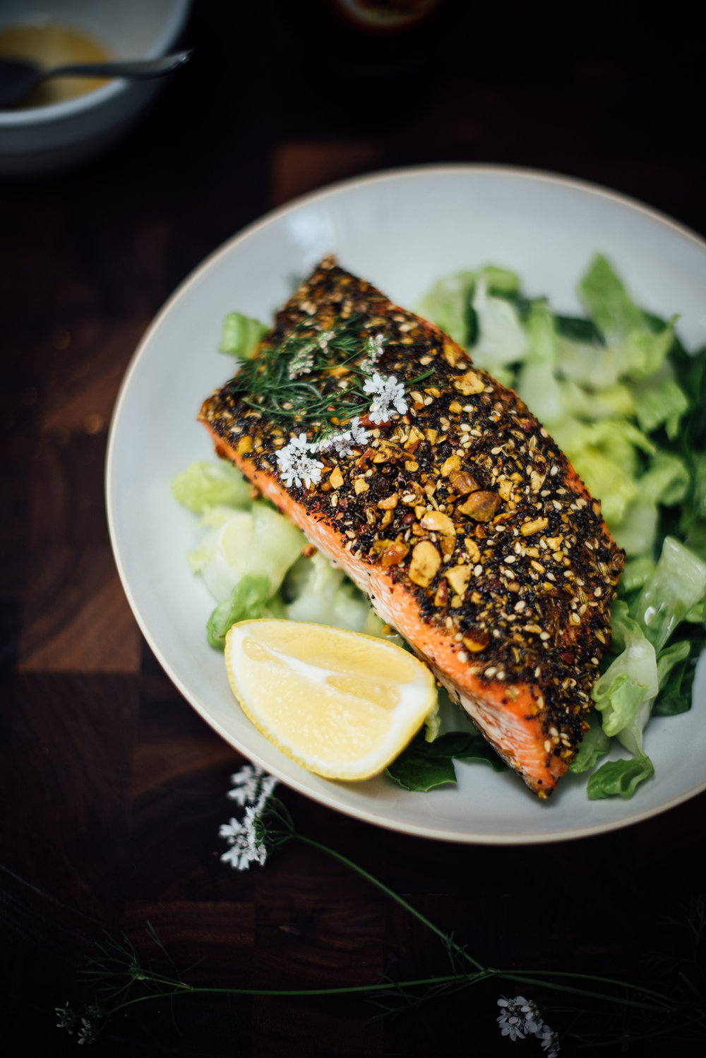 dukkah seasoned salmon| Nik Sharma