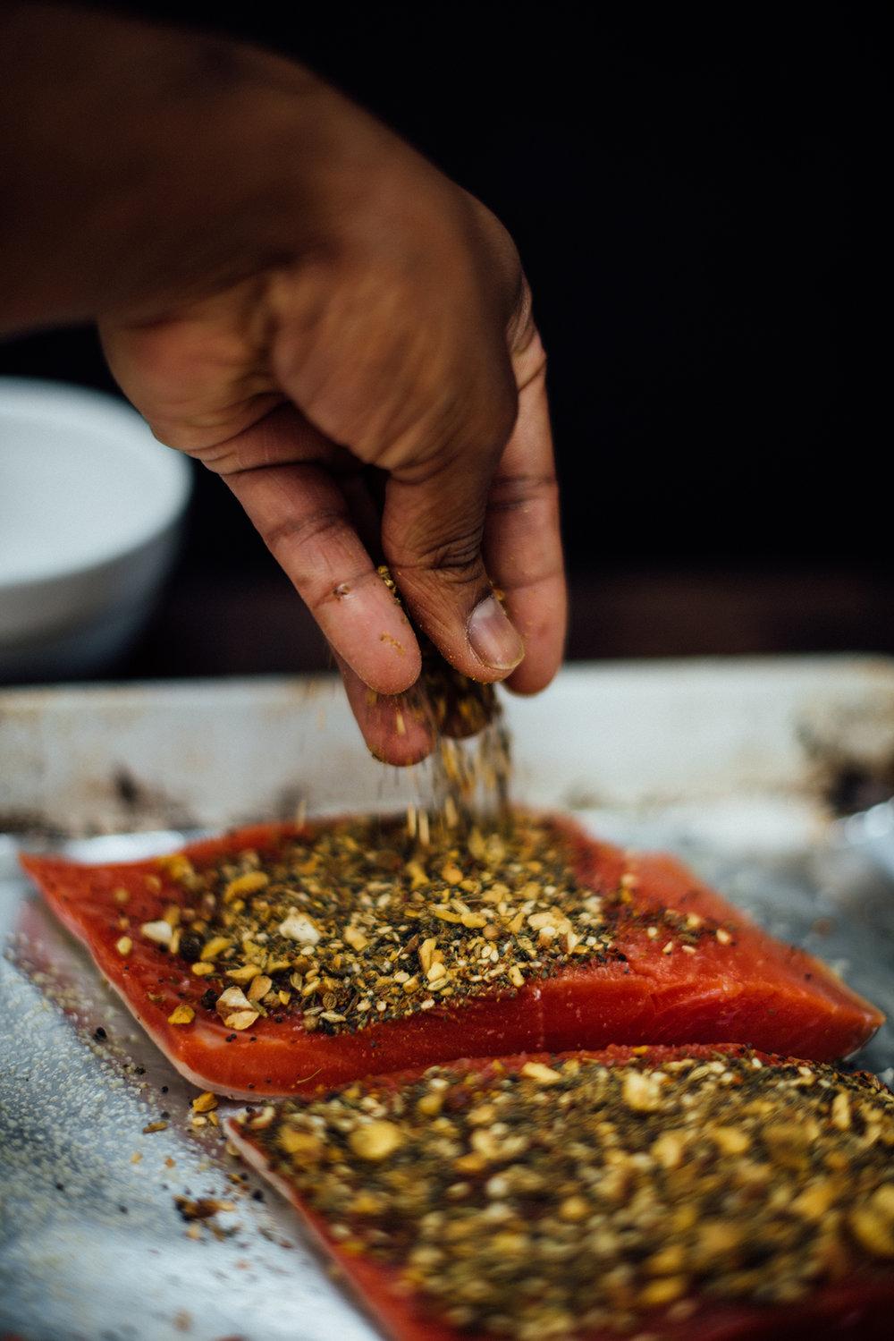 dukkah seasoned salmon | Nik Sharma
