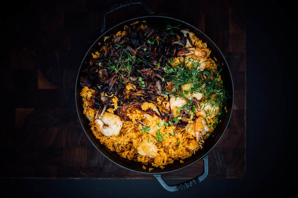 prawn and chorizo pulao for SF Chronicle | Nik Sharma