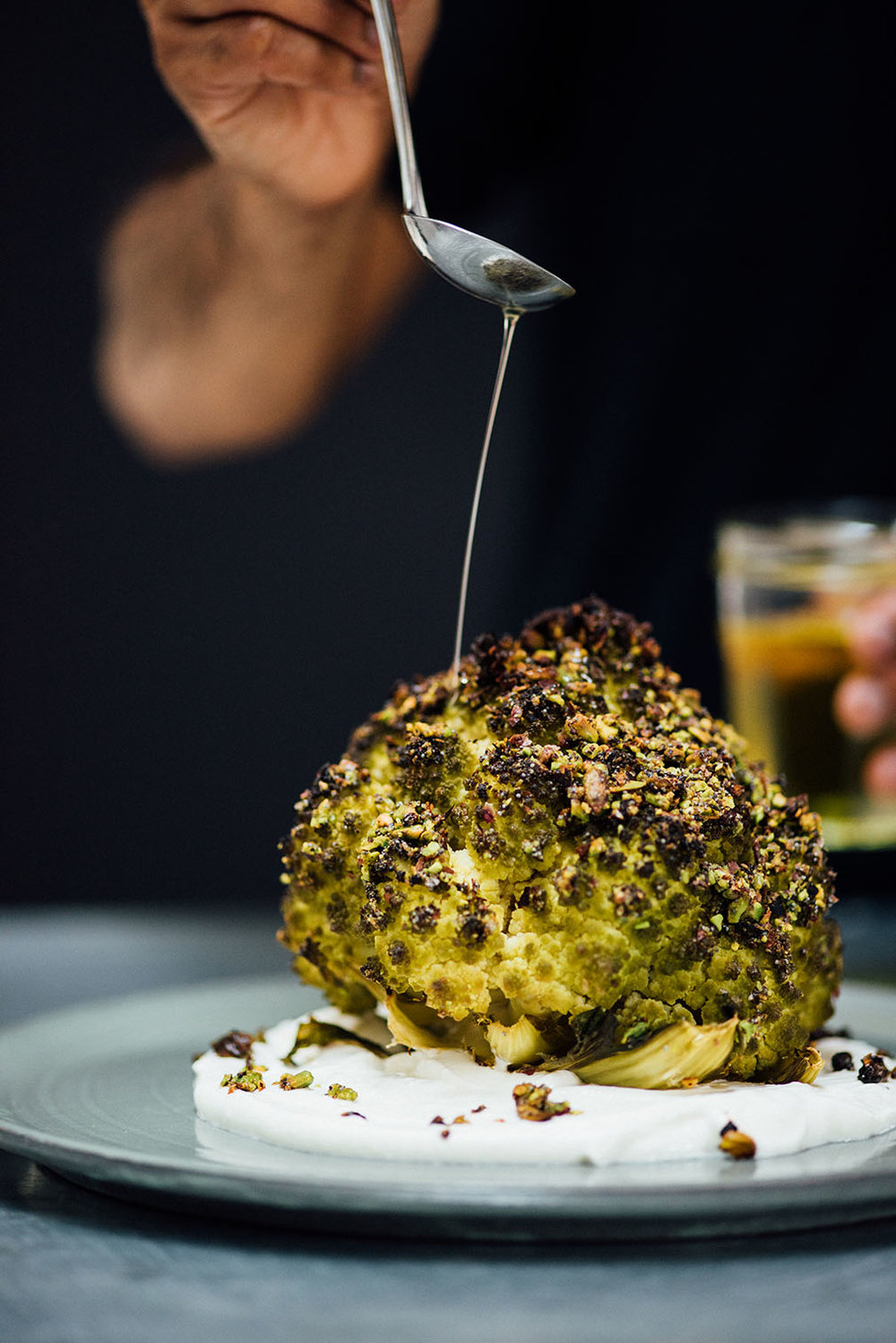 roasted romanesco with garlicky yogurt for SF Chronicle | Nik Sharma