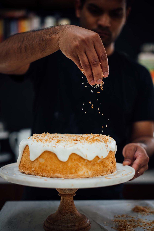 cardamom and toasted coconut angel food cake   Nik Sharma
