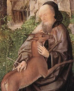Detail of Saint Giles and the Hind, Master of Saint Giles, 1500.