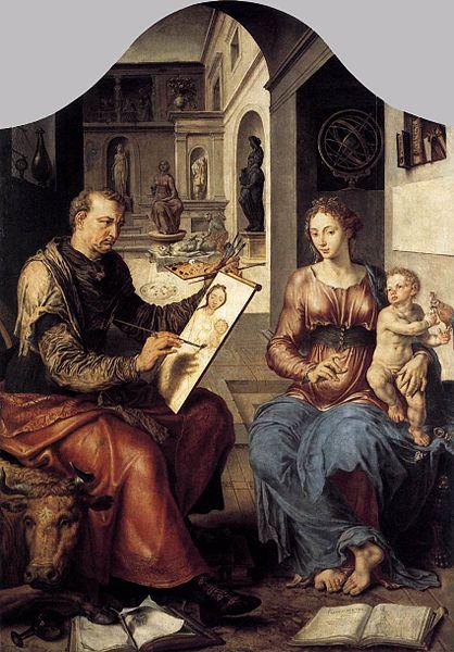 Saint Luke Painting Mary and the Child Jesus, Maarten van Heemskerc 1550