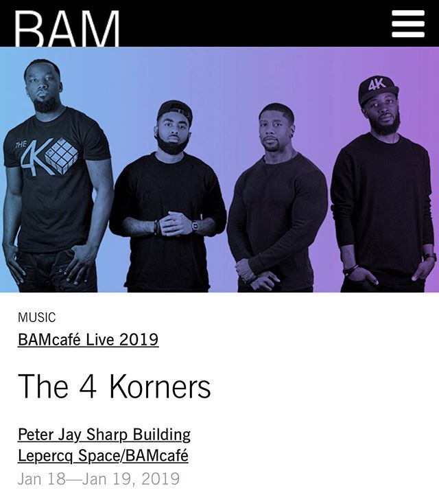 BROOKLYN, NY‼️ We will be performing live Jan. 18th & 19th at  BAMcafe Live (2 NIGHTS) . By the way, both shows are  FREE ADMISSION! ⚡️ . We hope to see all of our people from Brooklyn and surrounding areas in the building! .  #The4Korners #ItsAllGod #PlayWithPurpose #JourneyMusic #FindYouJourney #PortalOfGold
