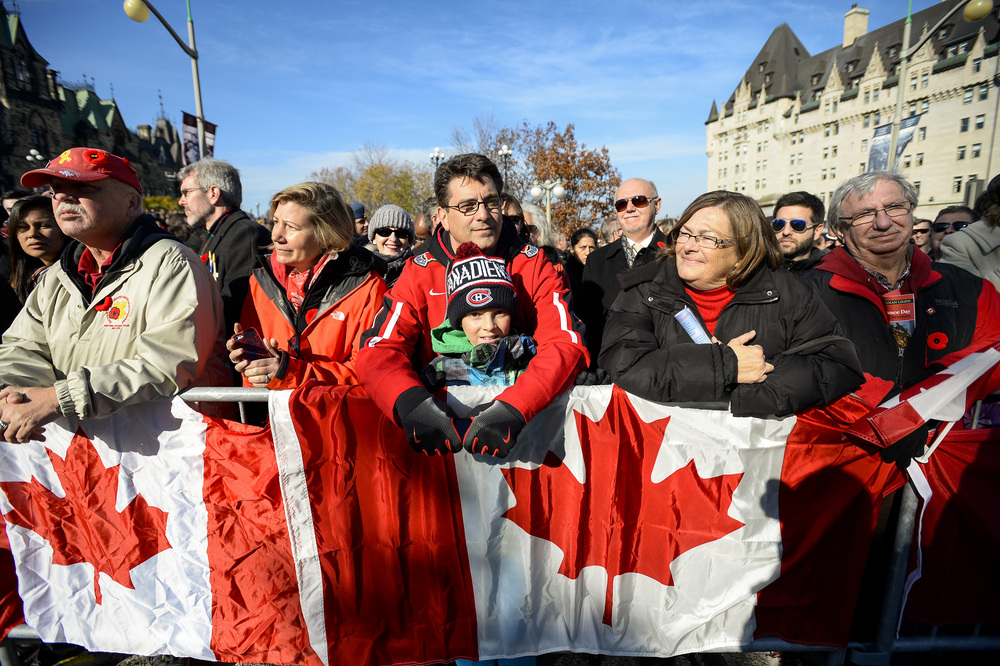 OTTAWA, Ont. (11/11/14) - Canadians of all ages gathered to show their support for those who served for Canada at a Remembrance Day ceremony held in Ottawa on Tuesday Nov. 11, 2014. Photo by Andrew Lahodynskyj/