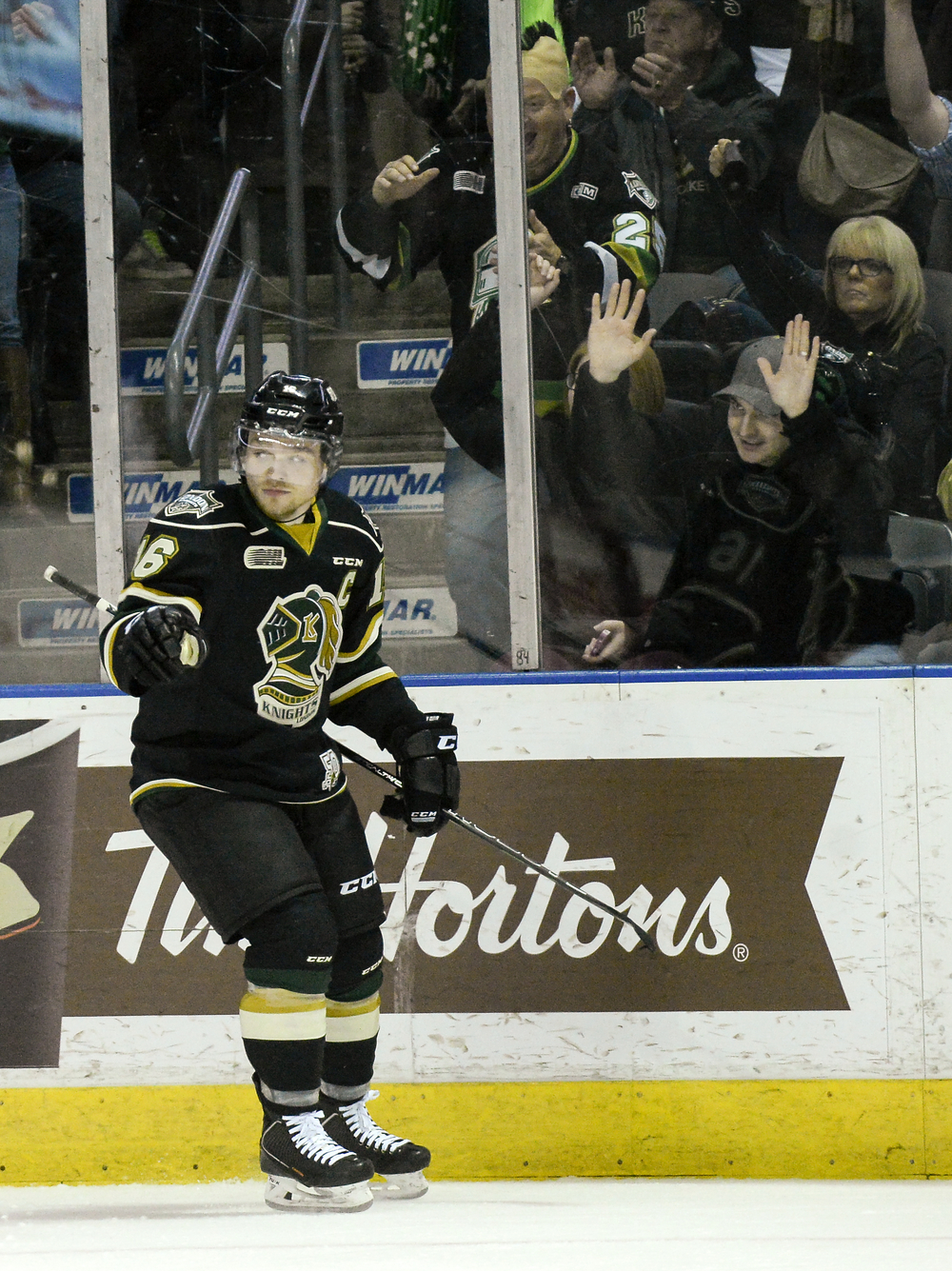 Max Domi celebrates after his 100th point during a game against Saginaw Spirit at Budweiser Gardens in London, Ont. on Friday March 20, 2015. The Knights lead 4-3 after the first period. ANDREW LAHODYNSKYJ/ The London Free Press /QMI AGENCY